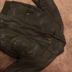 Genuine leather brown coat